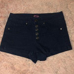 Dark Denim Shorts with Revere button up front